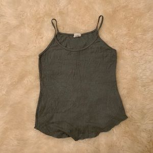 Tillys Essentials Ribbed Tan Top Olive Green S